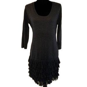 Calvin Klein petite  grey 3/4 Sleeve ruffle dress